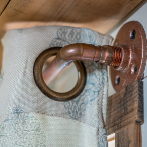 Copper Curtain Rods, easy DIY for Tiny Home Interior Design