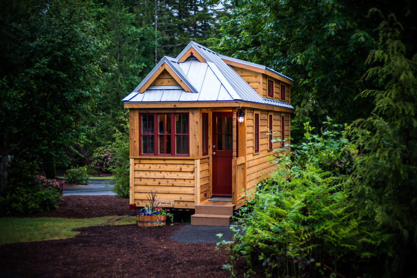 Lincoln tiny house rental at mt hood tiny house village for Cost of building a house in montana