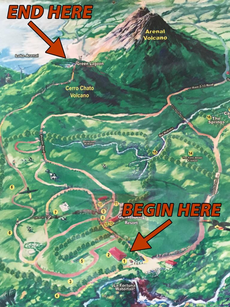Costa Rica Volcano Hike and Swim inside Cerro Chato – Costa Rica Tourist Attractions Map