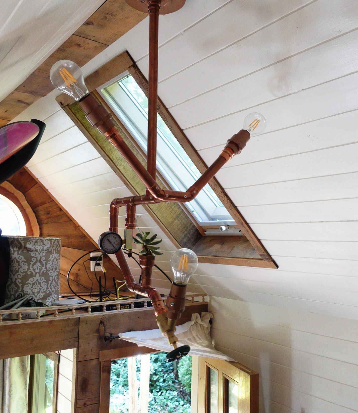 DIY Copper Lamp Tutorial. Custom design for my Tiny House