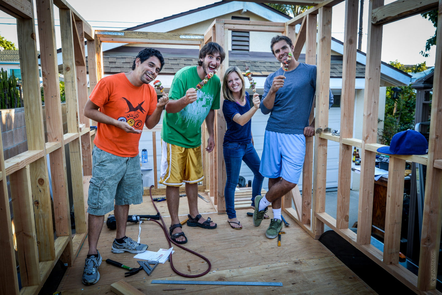 Tiny House Framing with Parallam Posts