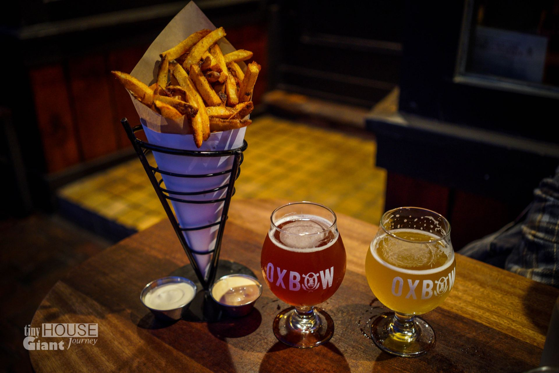 Fries coated in duck fat & local beer