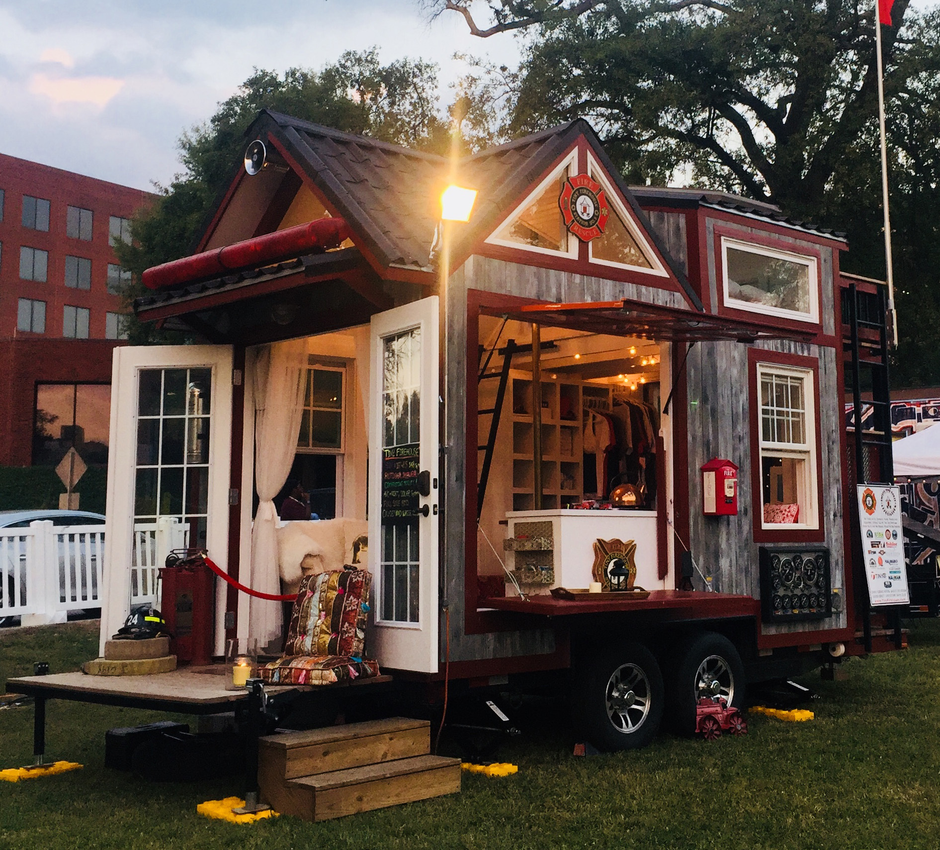 Tiny Fire House Made From Fire Truck Parts Used As Mobile