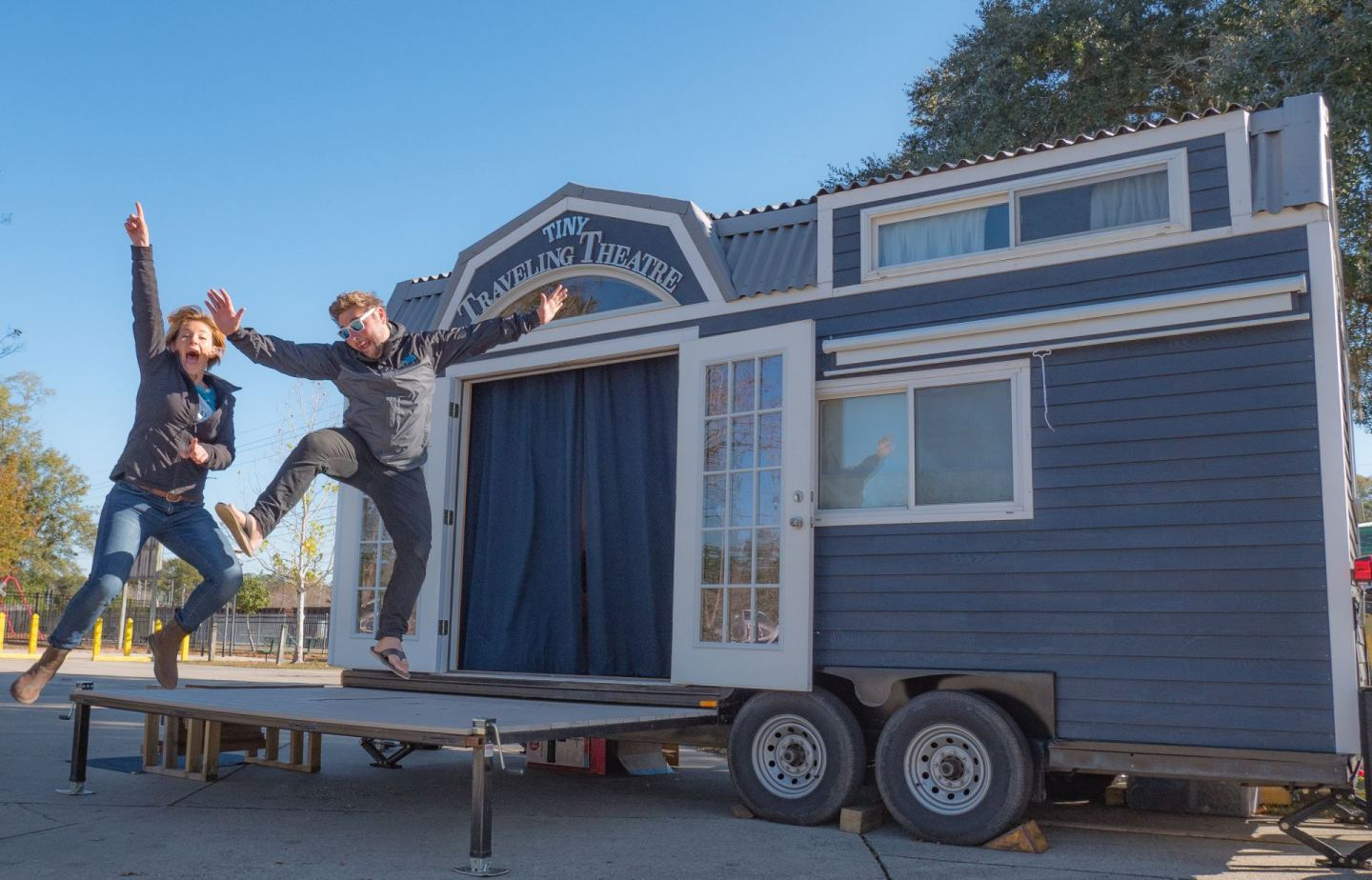 Their Tiny House Converts Into a Traveling Theater