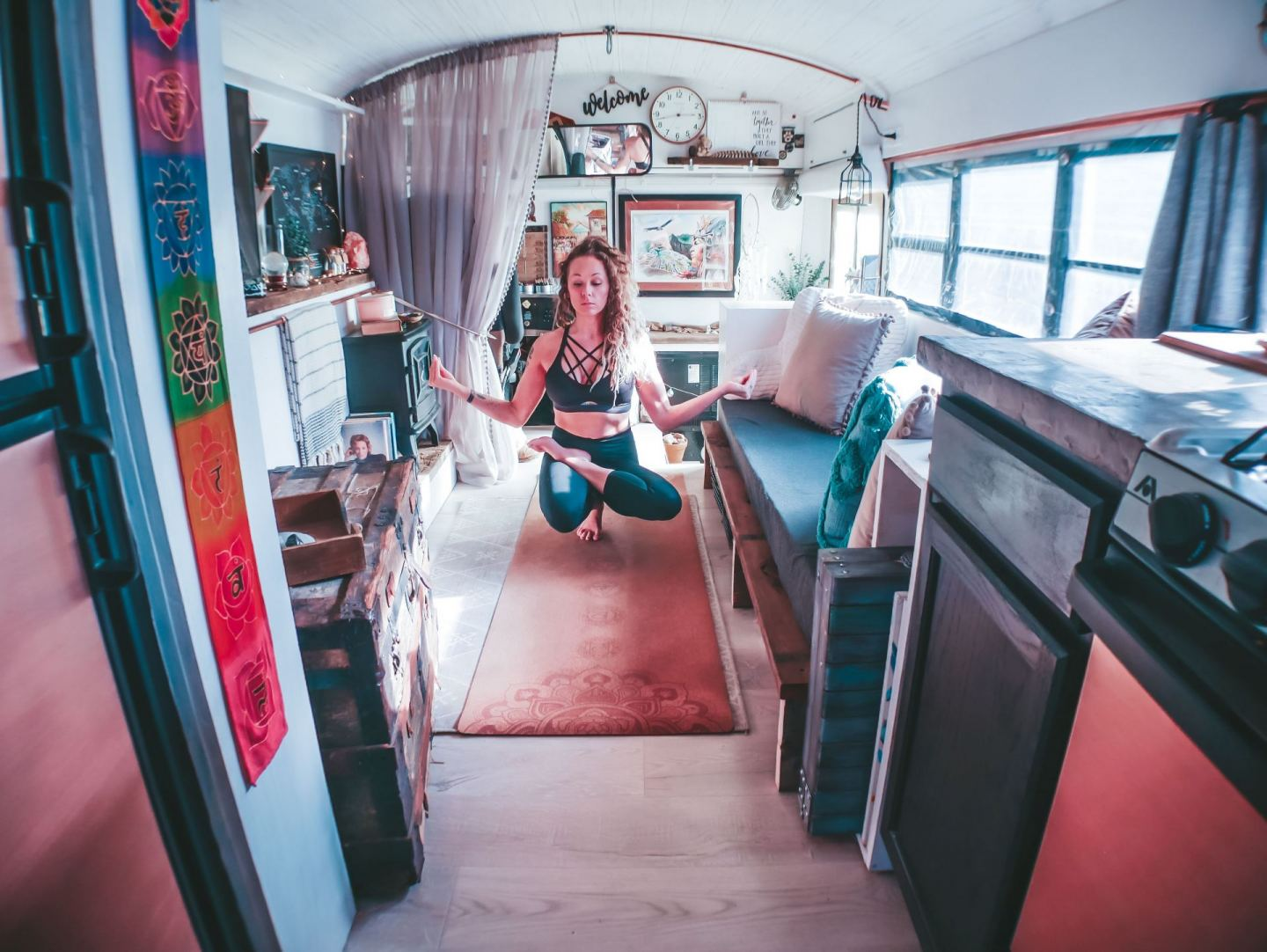 Family with Two Teenagers Live in a Gorgeous Skoolie