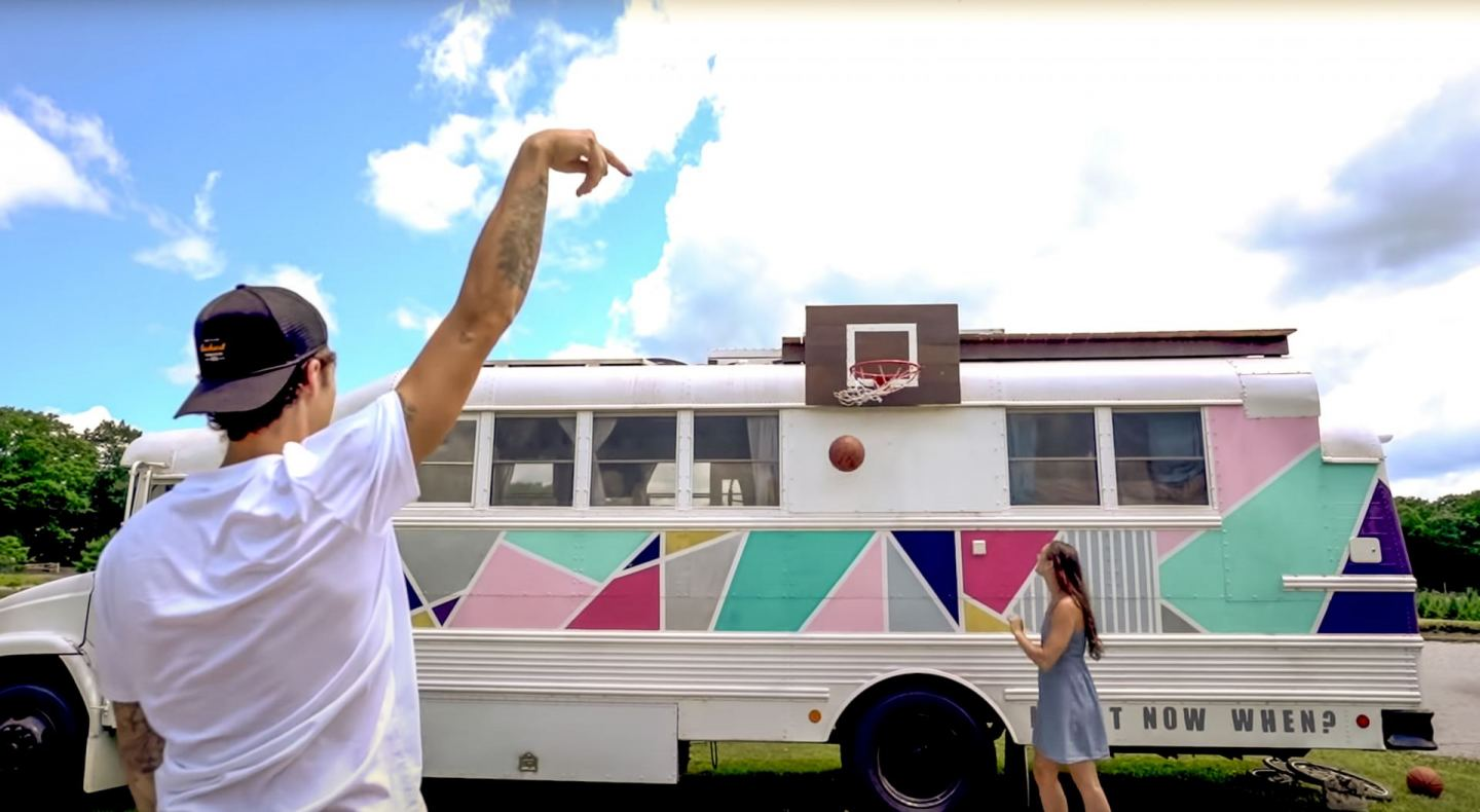 Tall Skoolie Home! Basketball Couple's School Bus Conversion